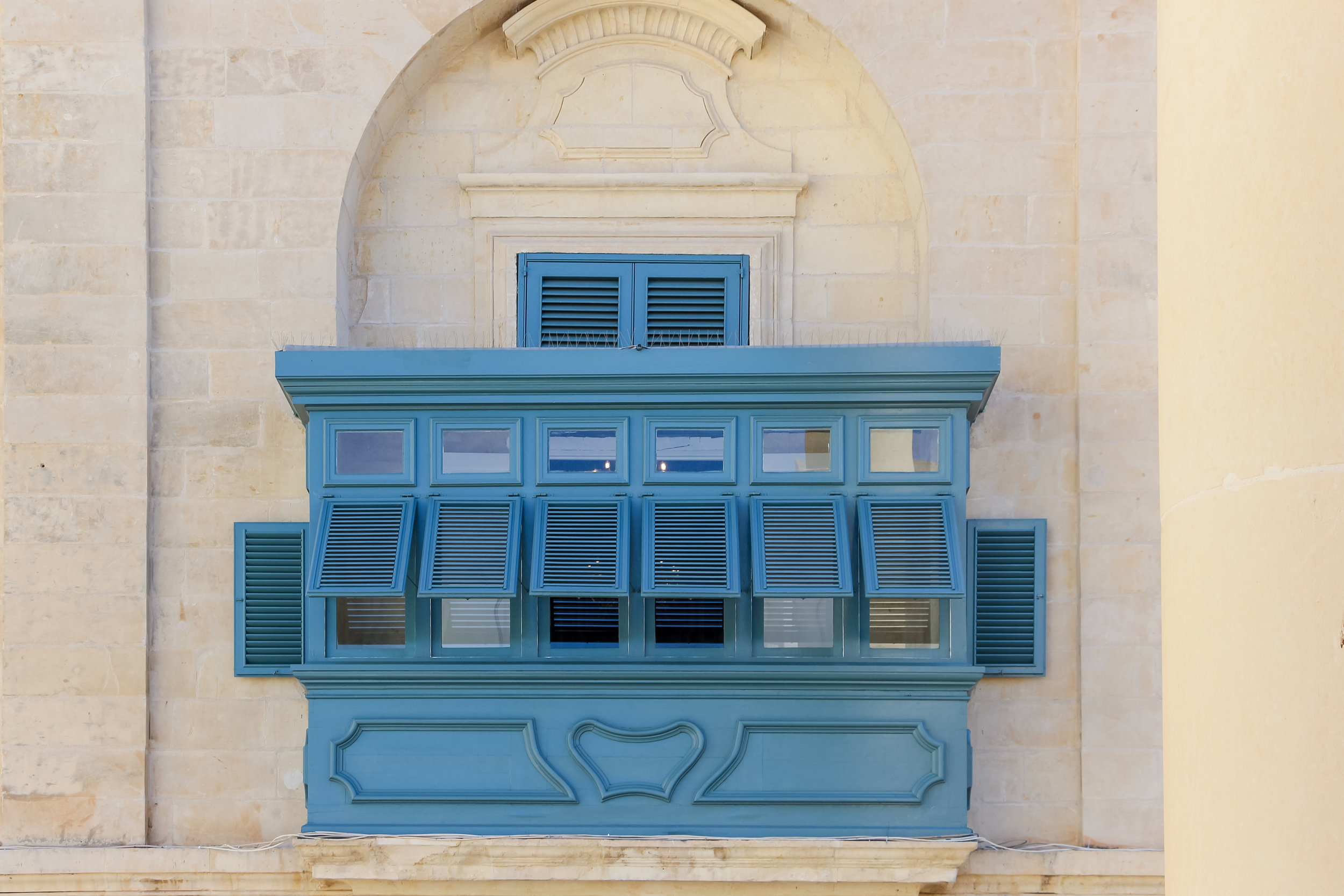 Blue Traditional Maltese Enclosed Wooden BalconY   Old Town of Valletta   - Thinking about appreciation for quality in Malta   Malta, Europe   DoLessGetMoreDone.com   - Canon Architecture Minimal Travel Documentary Photography - search for liveability   Sustainability
