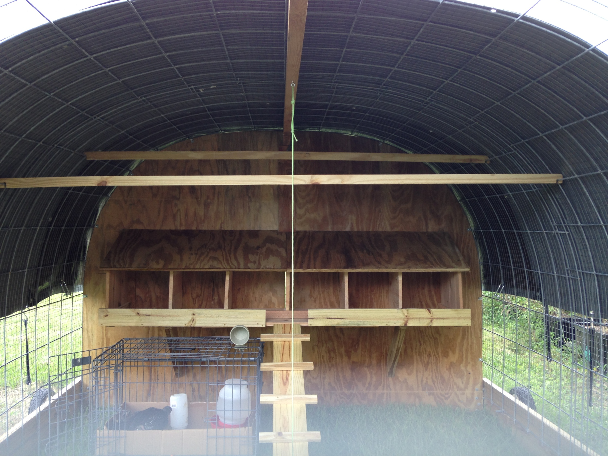 Here is a picture of the inside of the coop just prior to introducing the first of our flock.