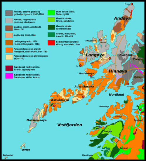 Geologic map of Lofoten and Vesterålen. Apologies for the lack of English, but a lot of the rock terms are fairly self-explanatory.