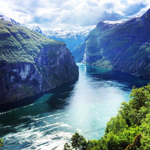 The Geirangerfjord, one of the most famous fjords in Norway. Not pictured: the thousands of caravans filled with tourists.
