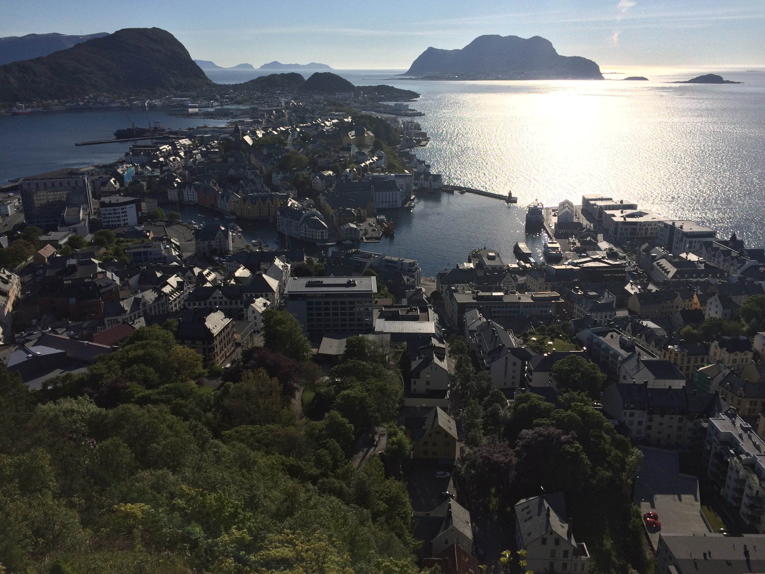 I didn't take any Tesla pictures, but here's a picture of Ålesund, the second-largest town in Møre og Romsdal which connects to nearby islands via tunnels and ferries. It's on the coast to the point that it's practically in the water.