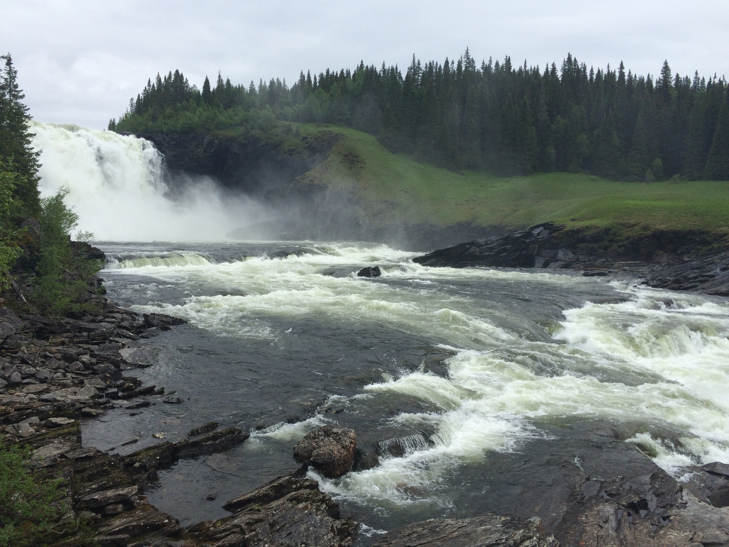 Seen here is the largest waterfall (by volume) in Sweden, Tännforsen. I can assure you that it's mad impressive in real life.