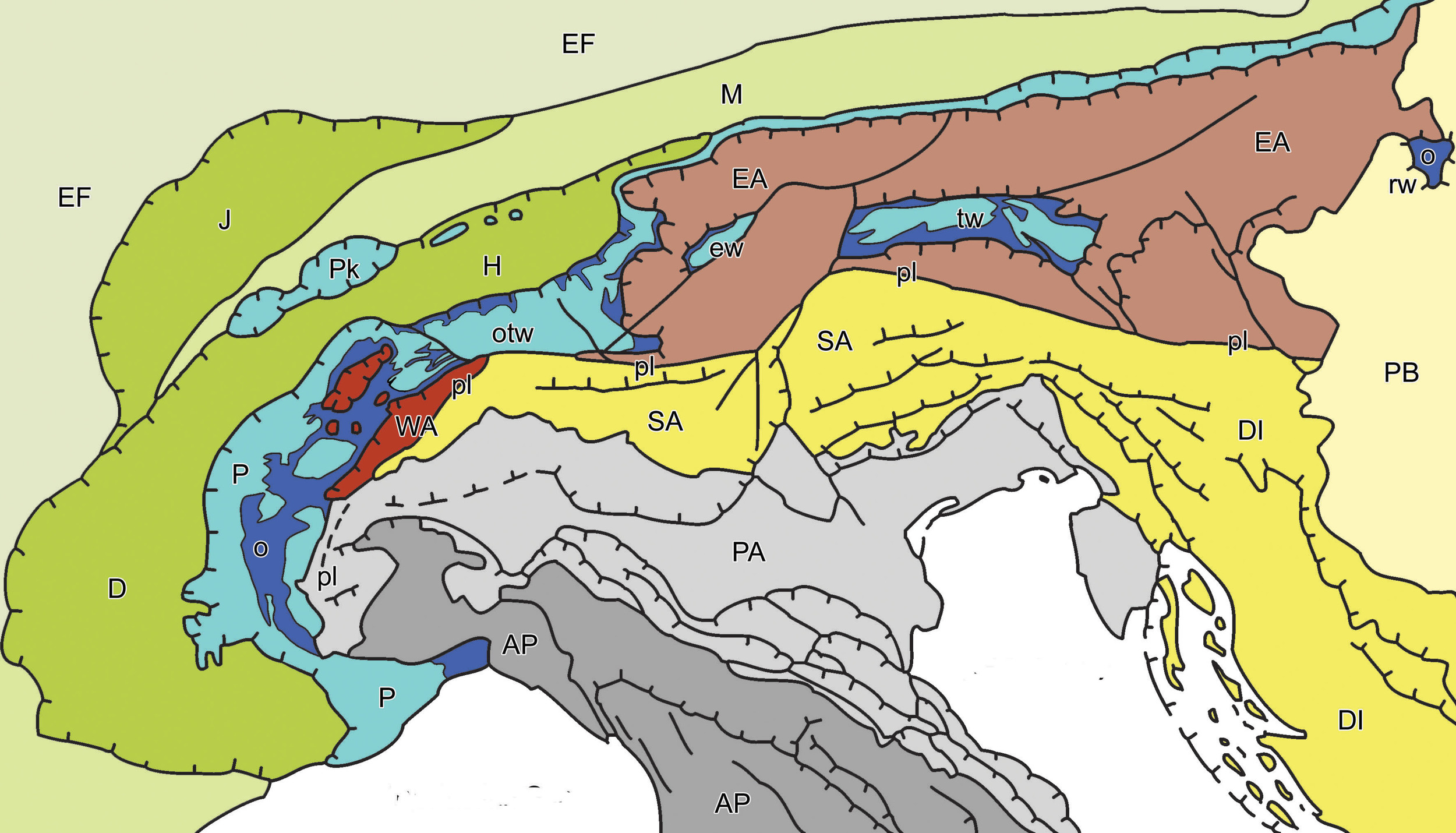A simplified geologic maps of the Alps - note the complex fault structures.  The Dolomites are the yellow in the south (SA unit).