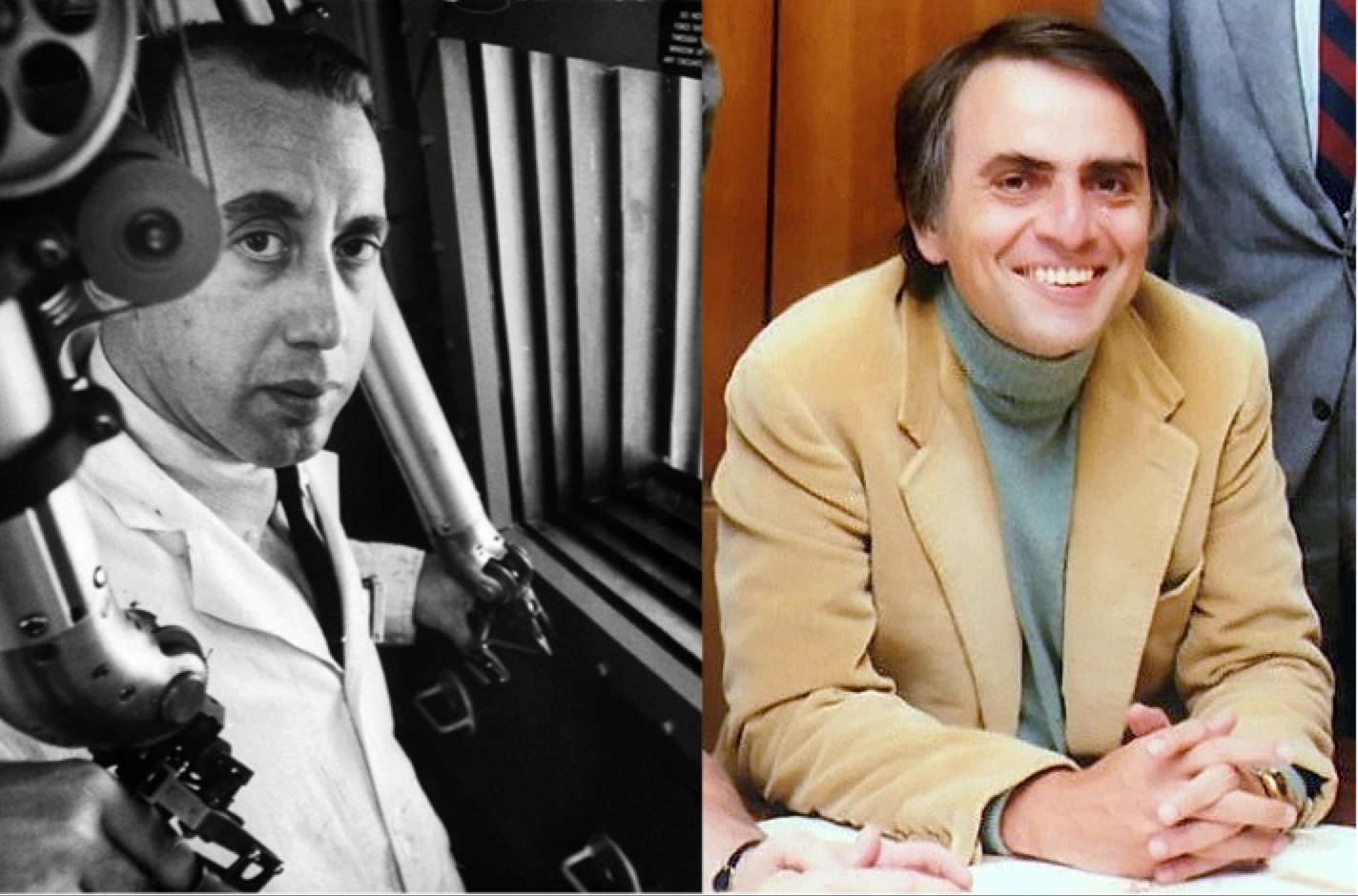 Leonard Reiffel (left) and Carl Sagan (right), two key members of the Project A119 team. Images via Getty Images and NASA JPL, respectively.