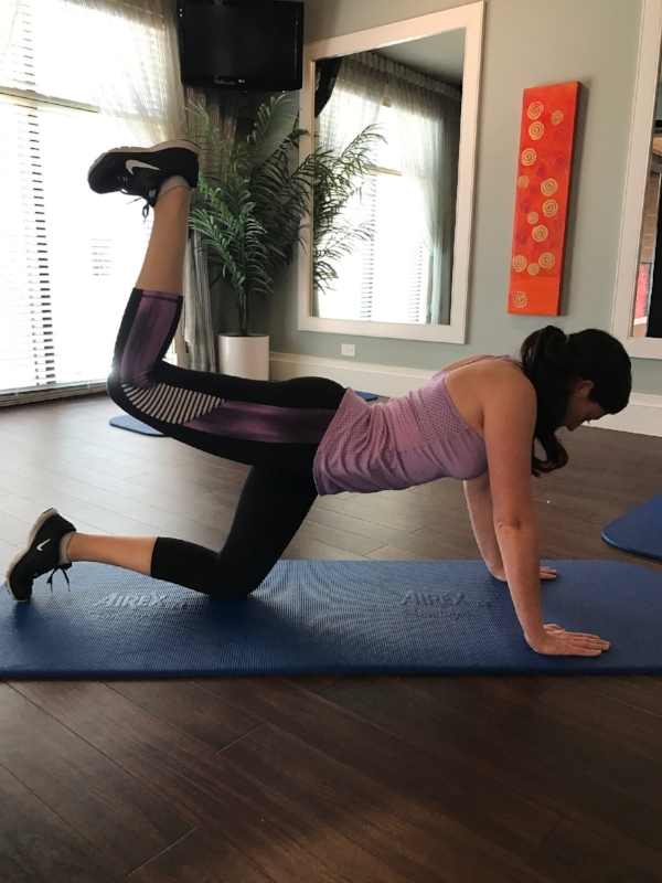 Instructions   1) Kneel on the floor or an exercise mat and bend at the waist with your arms extended in front of you (perpendicular to the torso) in order to get into a kneeling push-up position but with the arms spaced at shoulder width. Your head should be looking forward and the bend of the knees should create a 90-degree angle between the hamstrings and the calves. This will be your starting position.  2) As you exhale, lift up your right leg until the hamstrings are in line with the back while maintaining the 90-degree angle bend. Contract the glutes throughout this movement and hold the contraction at the top for a second.  Tip:  At the end of the movement the upper leg should be parallel to the floor while the calf should be perpendicular to it.  3) Go back to the initial position as you inhale and now repeat with the left leg.