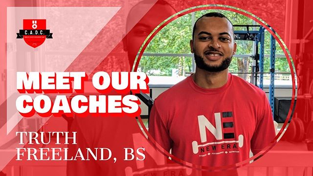 """MEET OUR COACHES 👋🏼😃 ————————————— Coach Truth joins the C.A.D.C. team for the first time this year. Coming from a background as both a former collegiate athlete (basketball) and current personal trainer, Coach Truth knows what it takes to reach your goals.  #FastFive:  Favorite Sports Team: The 2014-15 Warren Wilson College Owls ( the team I played on) Favorite Food: Sushi Dog or Cat: Dog  Fun Fact: I love to go clay shooting whenever I get the chance to Favorite Quote: """"A champion is someone who gets up when he can't."""" - Jack Dempsey"""