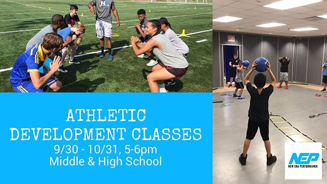 Our Athletic Development Classes (for middle and high school athletes) resume on Monday, 9/30! Register now for our 10 session Strength package or our 10 session Speed package and progress towards becoming a NEP Complete Athlete. Sessions are held twice a week, M-Tr, from 5pm-6pm. Receive a 10% discount by registering for all 20 sessions (Strength & Speed)! Click the link to learn more! 💪🏃‍♀️🏃‍♂️
