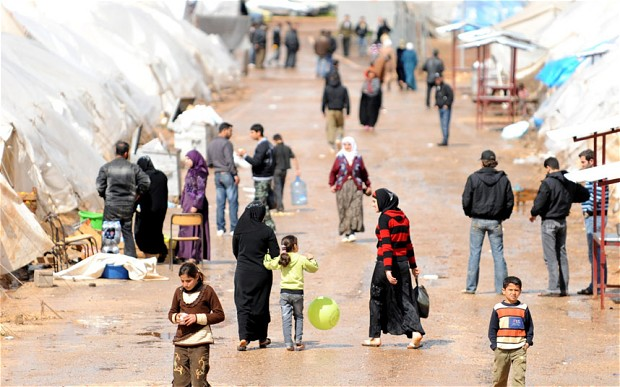 Syrian refugees at a refugee camp in Jordan. Courtesy of Amman Center for Human Rights Studies.