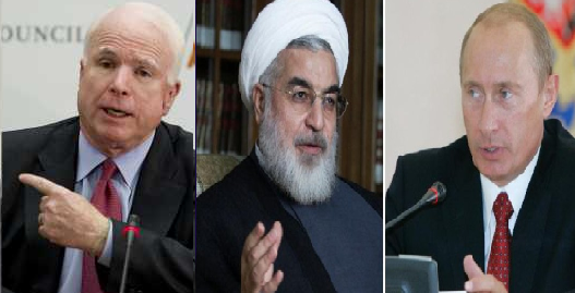US Senator John McCain, Iranian President Hassan Rouhani, and Russian President Vladimir Putin.