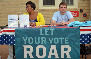 Students at the University of Missouri encourage their peers to register to vote.