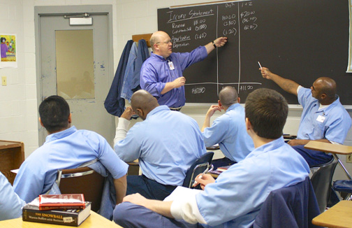 Inmates take a class as part of the Education Justice Project. (Photo courtesy of I-STEM Education Initiative)