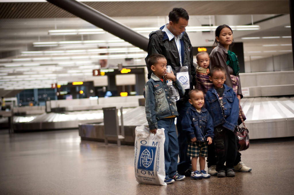 A refugee family arrives at a U.S. airport. Photo via worldreliefnashville.org.