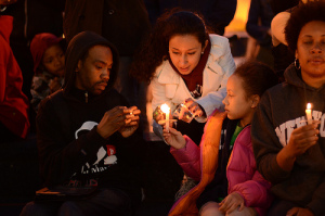 A vigil held for Trayvon Martin.