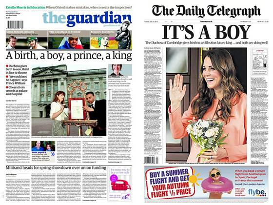 The front page of The Guardian and The Daily Telegraph.