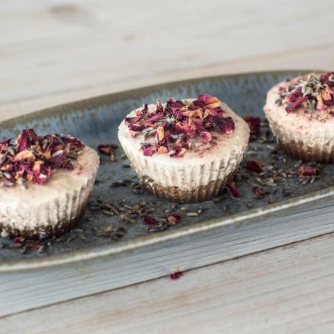 Raw Vegan Rose Lavender Reishi Cheesecake