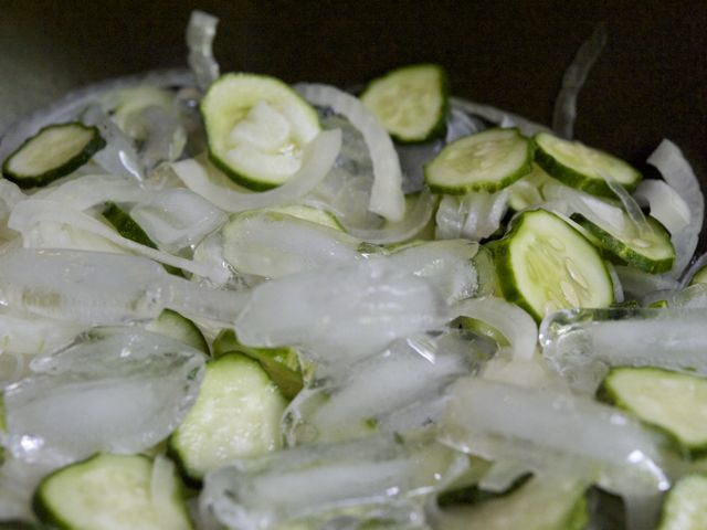 Cucumbers for the bread-&-butters sit in an ice bath for a few hours