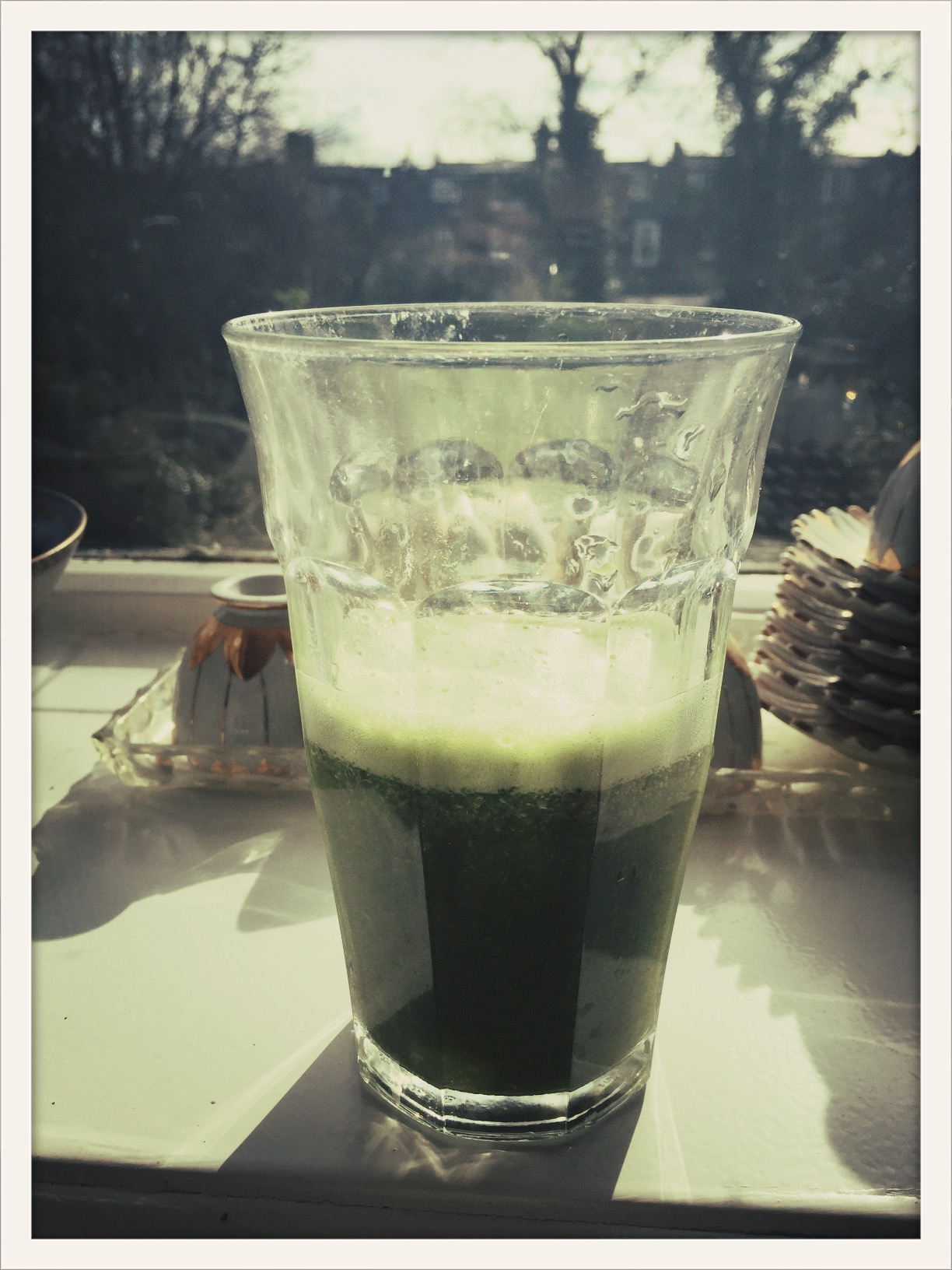 Green alkalising juice: Coconut water, kale, lemon juice, ginger, cayenne pepper, Udo s oil and the essential Elle McPherson's Super Elixir green superfood powder ...best way to start the day...!