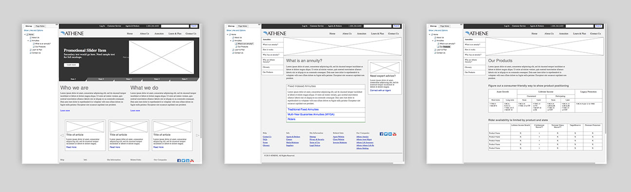 Wireframes created in Axure.