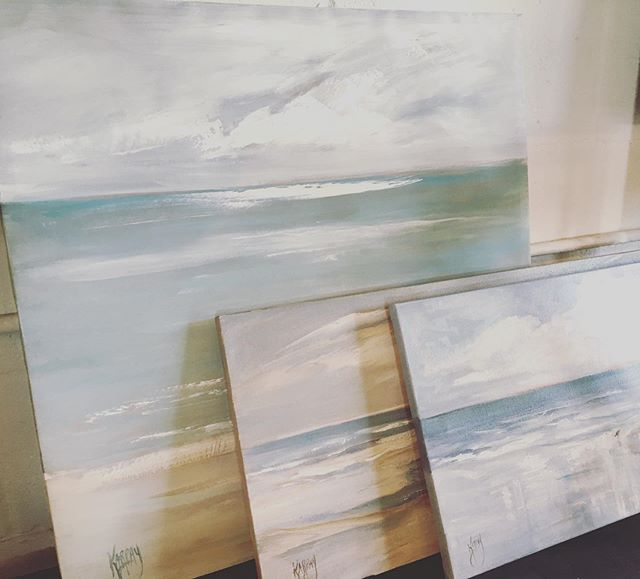 Dreaming of the seaside...paintings by local artist @jkarpay. • Open today until 4. . . . . . #originalartwork #localartist #originalpainting #seaside #seasidepainting #oneofakindart #paintings #beachpainting #artistsoninstagram #homedecor #homedecorshop #shoplocal #southtampaboutique #shoptampa #bluemoontradingco