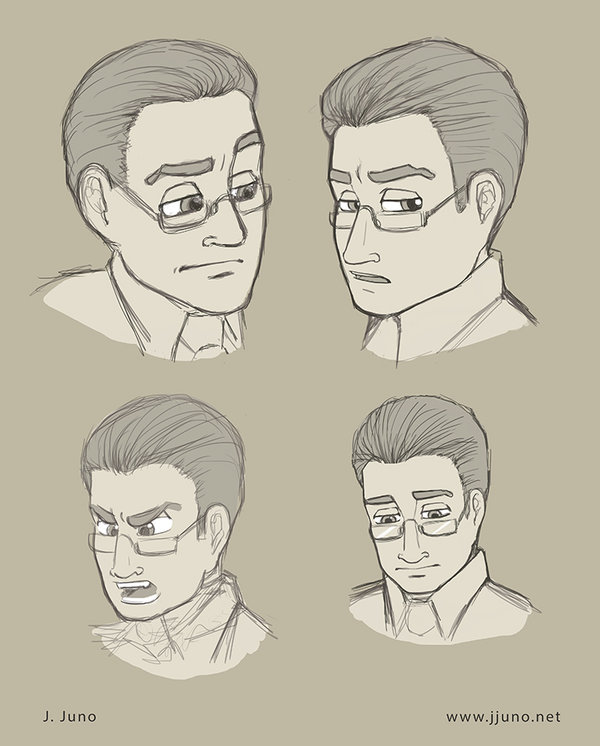 Matthew Winters and some of his expressions. He is a character seen in   bare   and   naked  .  Medium: Digital