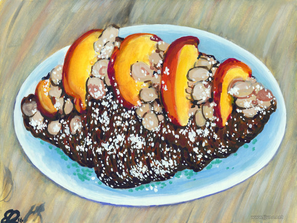 Title:   almond croissant with peach slices    Medium: Watercolor and gouache on paper  Dimensions: 6x8  Year: 2016  Availability: Stolen  This is a painting of an almond croissant, a type of pastry popular in Denver. The almond croissant used as reference for this painting was from Mercantile Dining in Denver, Colorado.  Redbubble Prints and Merchandise-  https://www.redbubble.com/people/jjuno/works/27252109-almond-croissant-with-peach-slices-painting