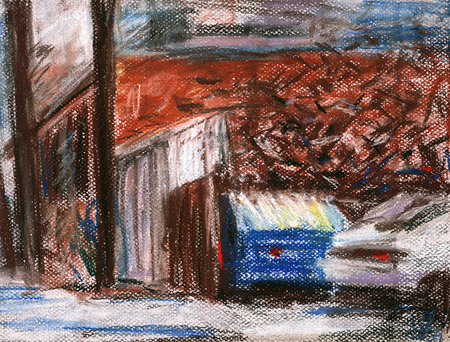 Title:   The alley behind Redline    Medium: soft pastels on paper  Dimensions: N/A  Year: 2017  Price: Upon Request  This is a pastel drawing of the alley behind  Redline .