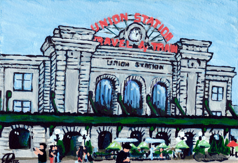 Title:   Union Station    Medium: Watercolor and Gouache on paper  Dimensions: 6x8  Year: 2016  Availability: Sold  This is a painting of Union Station in Denver, Colorado