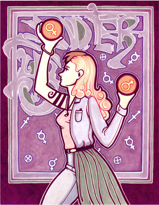 Title:   Gender    Medium: Marker & ink on paper  Availability: Lost  This is a illustration inspired by the art nouveau style.