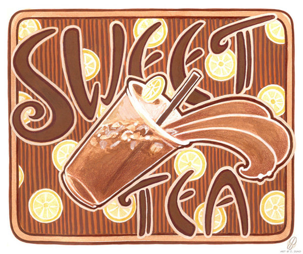Title: Sweet tea  Medium: Colored Pencil & Watercolor & ink on paper  Dimensions: 8x10  Availability: Lost  An illustration inspired by the art nouveau art style and art deco poster art. Sweet tea is an iced drink that is popular in the southern states of the United States.