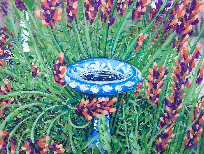 Title:   water fountain and flowers    Medium: Watercolor & gouache on paper  Dimensions: 6x8  Year: 2016  Availability: Stolen  This is a painting of a water fountain that used to be in the backyard of a women's homeless shelter in Denver, Colorado. The building has since been destroyed and is no longer there.