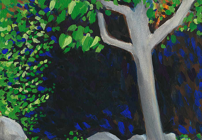 Title:   Tree in backyard    Medium: Watercolor & gouache on paper  Dimensions: 6x8  Year: 2016  Availability: Stolen  This is a painting of a tree seen in the backyard of a women's homeless shelter.