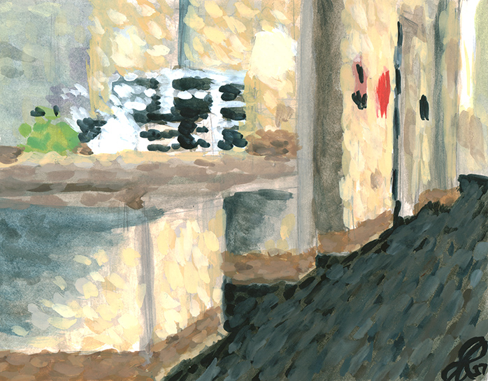 Title:   Vanity in shelter    Medium: Watercolor & gouache on paper  Dimensions: 6x8  Year: 2017  Price: Upon Request  A painting of the hallway and vanity area that was in a women's homeless shelter in Denver, Colorado. The building has since been destroyed.
