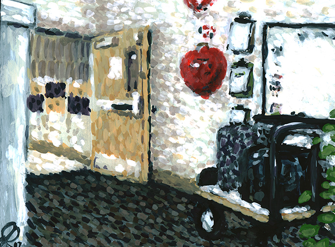 Title:   Hallway in shelter    Medium: Watercolor & Gouache on paper  Dimensions: 6x8  Year: 2017  Price: Upon Request  A painting of a hallway in a women's homeless shelter in Denver, Colorado. The building is no longer there.