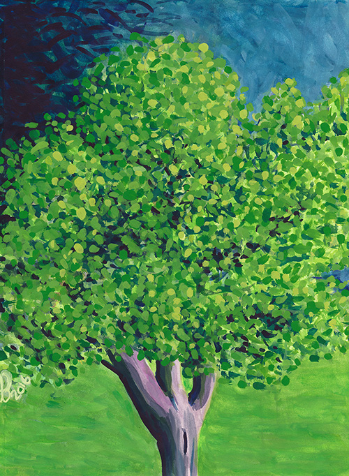 Title:   Tree in Paco Sanchez Park    Medium: Watercolor and gouache on paper  Dimensions: 8x10  Year: 2016  Availability: Donated  A painting of a tree seen in Paco Sanchez Park, one of many parks located in Denver, Colorado.