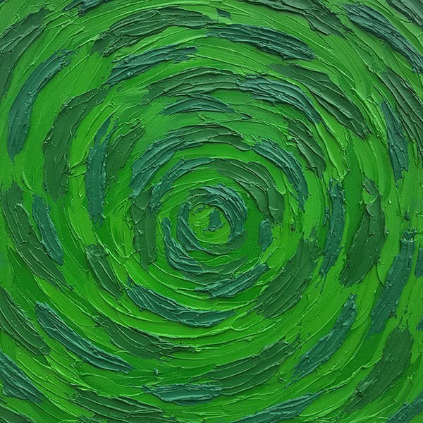 Title:   untitled    Medium: Oil paint on canvas  Dimensions: 12x12  Year: 2017  Price: Upon Request  An abstract expressionist oil painting where I tried to explore another shade of the color green.