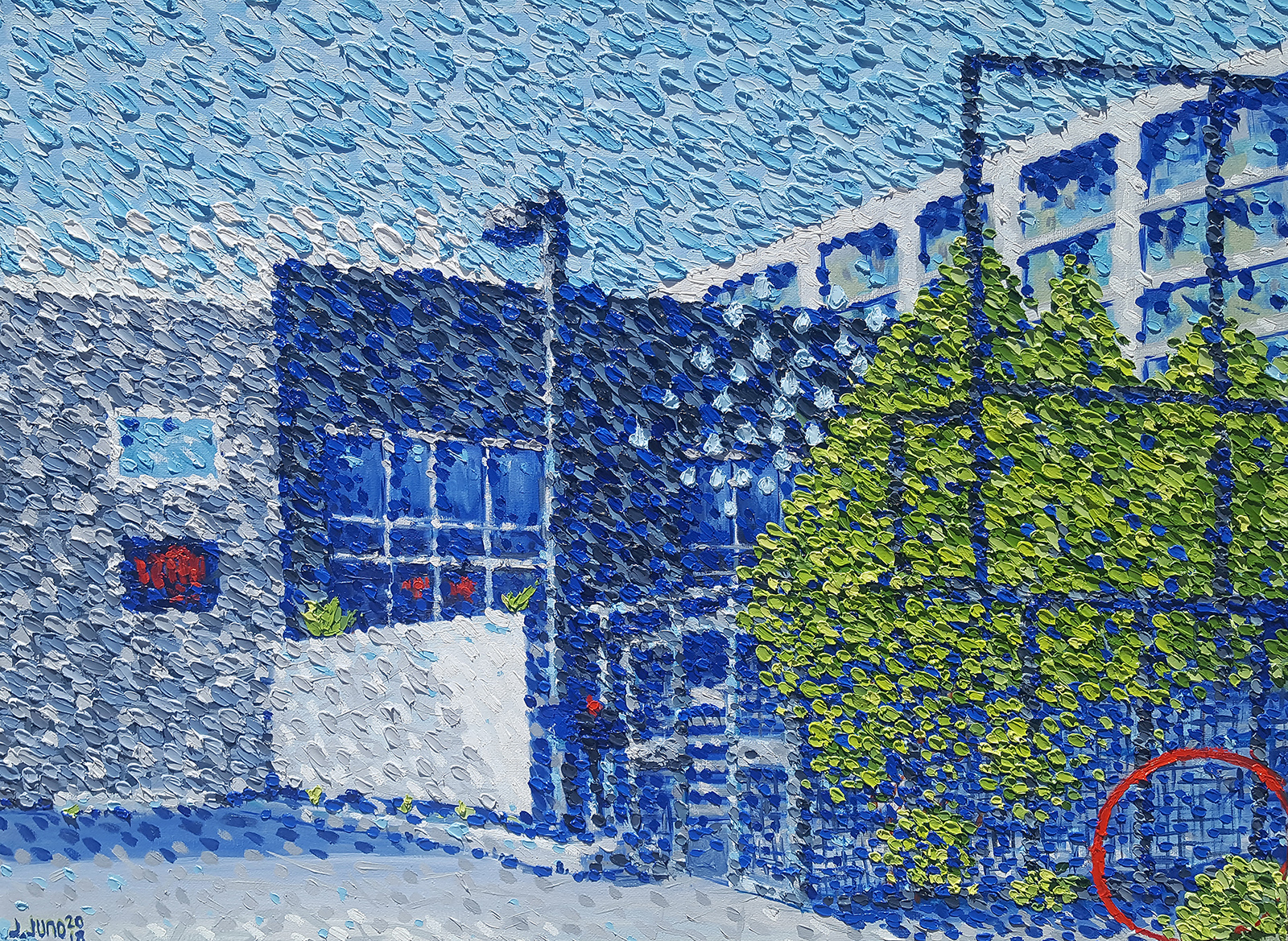 This is a painting of Redline Contemporary Art Center in bright natural sunlight, a non profit art center located in Denver ( www.redlineart.org ). This print is the painting in bright sunlight. It is oil on canvas, the style is inspired by impressionism and post-impressionism, and the painting was completed in 2018 by artist J. Juno.  Redbubble Prints and Merchandise-  https://www.redbubble.com/people/jjuno/works/32481275-redline   Pinterest Pin-  https://pin.it/57yyomdvqt2kat