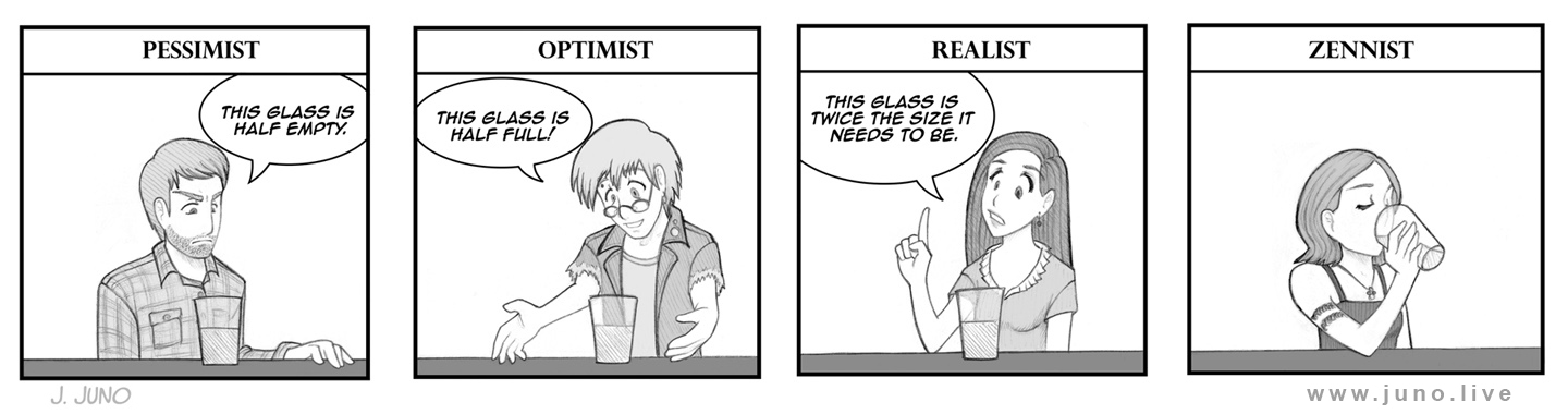 """""""The Glass""""   graphite on paper, digital shading  tools used: mechanical pencil + paper + adobe photoshop + wacom intuos tablet  This is kind of a joke for those studying zen. Or an attempt at a joke. I just had the idea for this randomly and sketched it out before deciding to make it into a comic strip. The original sketch had more life to it, but I like how the polished line art turned out. My studying of Taoism also influenced this.  Sketched with a mechanical pencil (graphite) on paper. Digital text and panel lines added on the computer."""