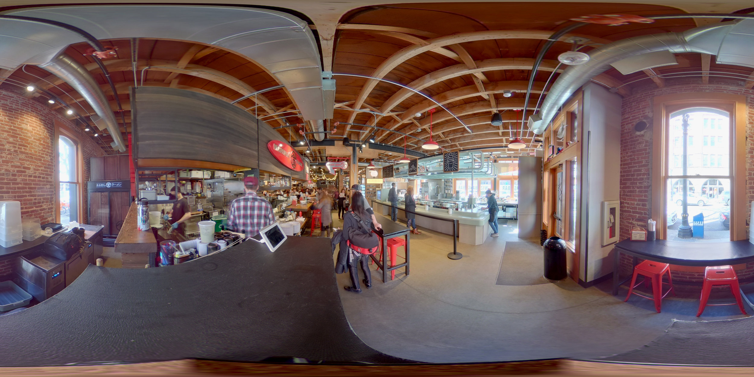 This is a photosphere of Marukin Ramen and the Pine Street Market, a gathering of eateries located in Portland, Oregon.