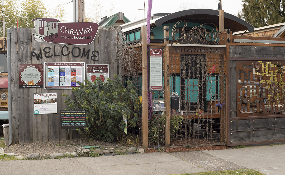 Caravan, a tiny house hotel located in the Alberta neighborhood of Portland, Oregon, United States (March, 2019).