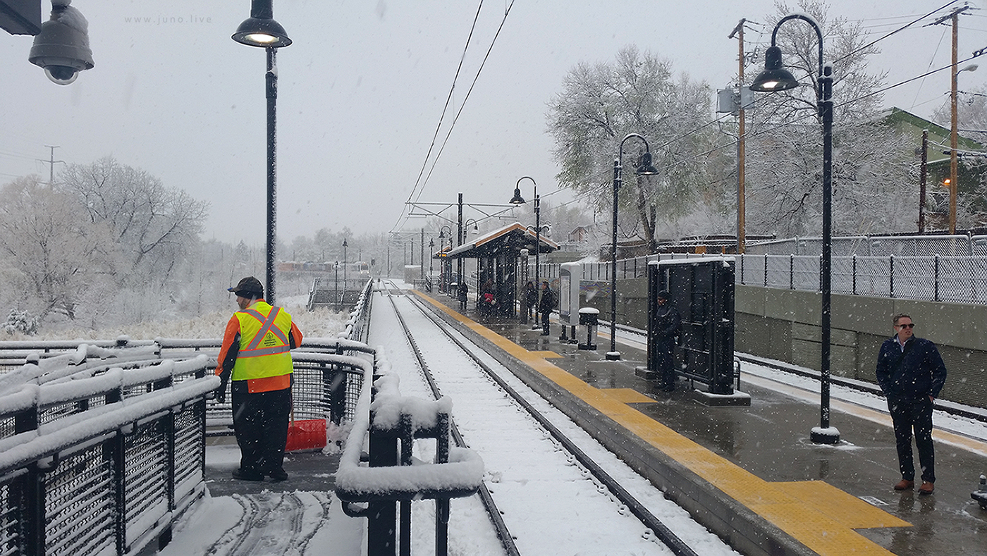 This is a view of the Knox train station in Denver, Colorado during a winter storm in 2017. This train station services the W route, which travels from Denver to Golden to the west.  This photograph was taken on April 4th, 2017.