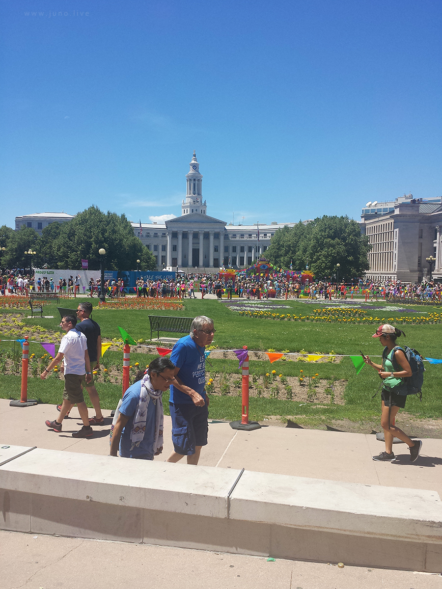 This is the Pride festival in Denver, Colorado in the summer of 2017. This took place in Civic Park, near the capitol building.
