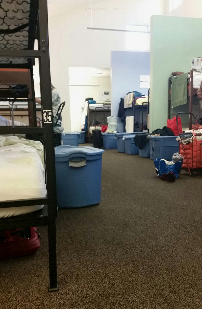 This is the interior of Delores Project, a women's homeless shelter in Denver, Colorado.  This photograph was taken in 2016 with a smartphone camera. The original building has since been demolished and no longer exists.