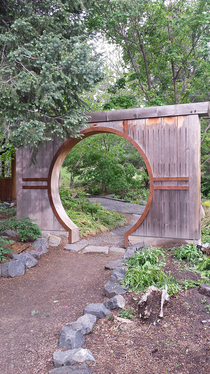 A Japanese gate in the Japanese garden of the Denver Botanic Gardens in Denver, Colorado, United States.
