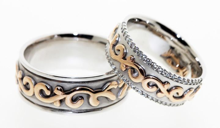 Custom make 18K Rose and White Gold Wedding bands