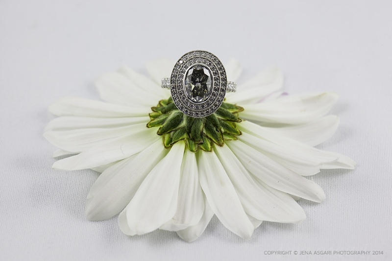 Oval Shape Fancy Grey Diamond with 18K Black Gold Double Halo