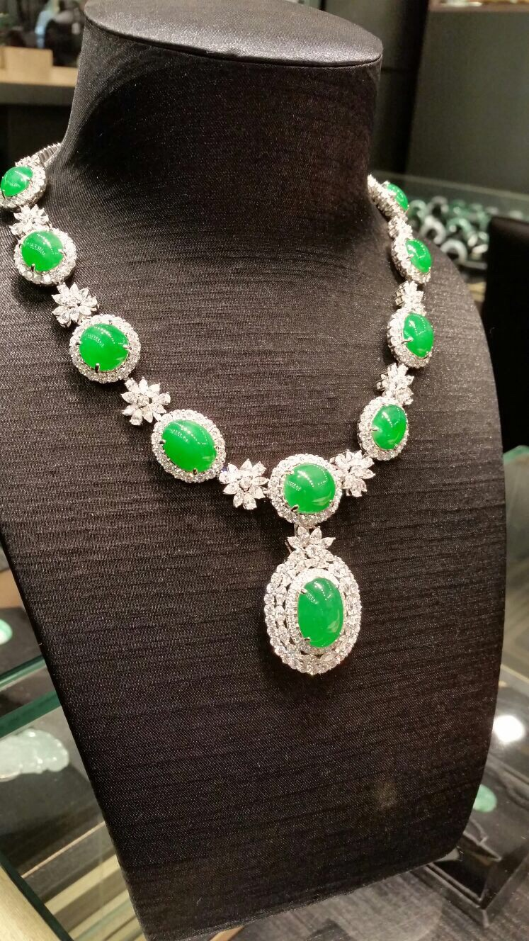 "Jadeite Jade ""A"" Type Magnificent Green Cabochon Necklace"