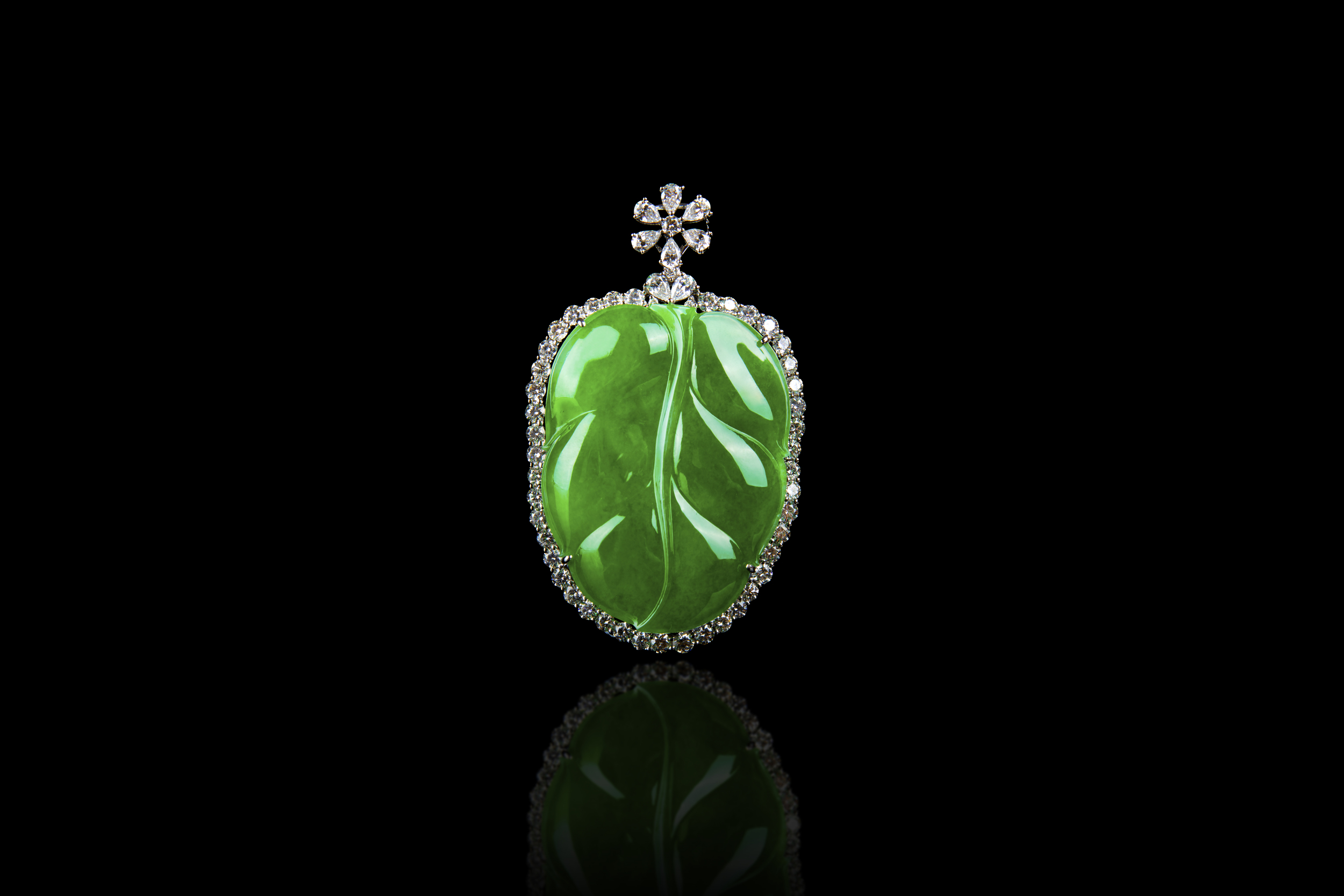 "Jadeite Jade ""A"" Type Translucent Green Leaf Pendant"