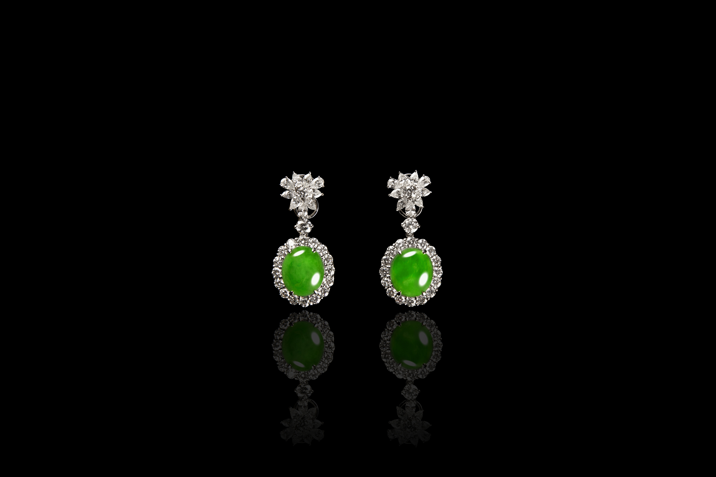 "Jadeite Jade ""A"" Type Magnificent Matching Green Cabochon Earrings"