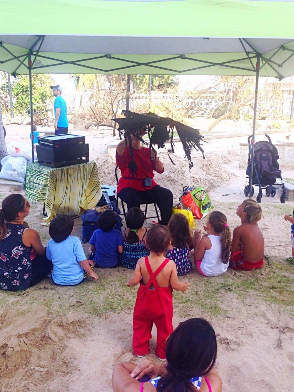 Puppet theatre for children at pop-up clinic post Maria