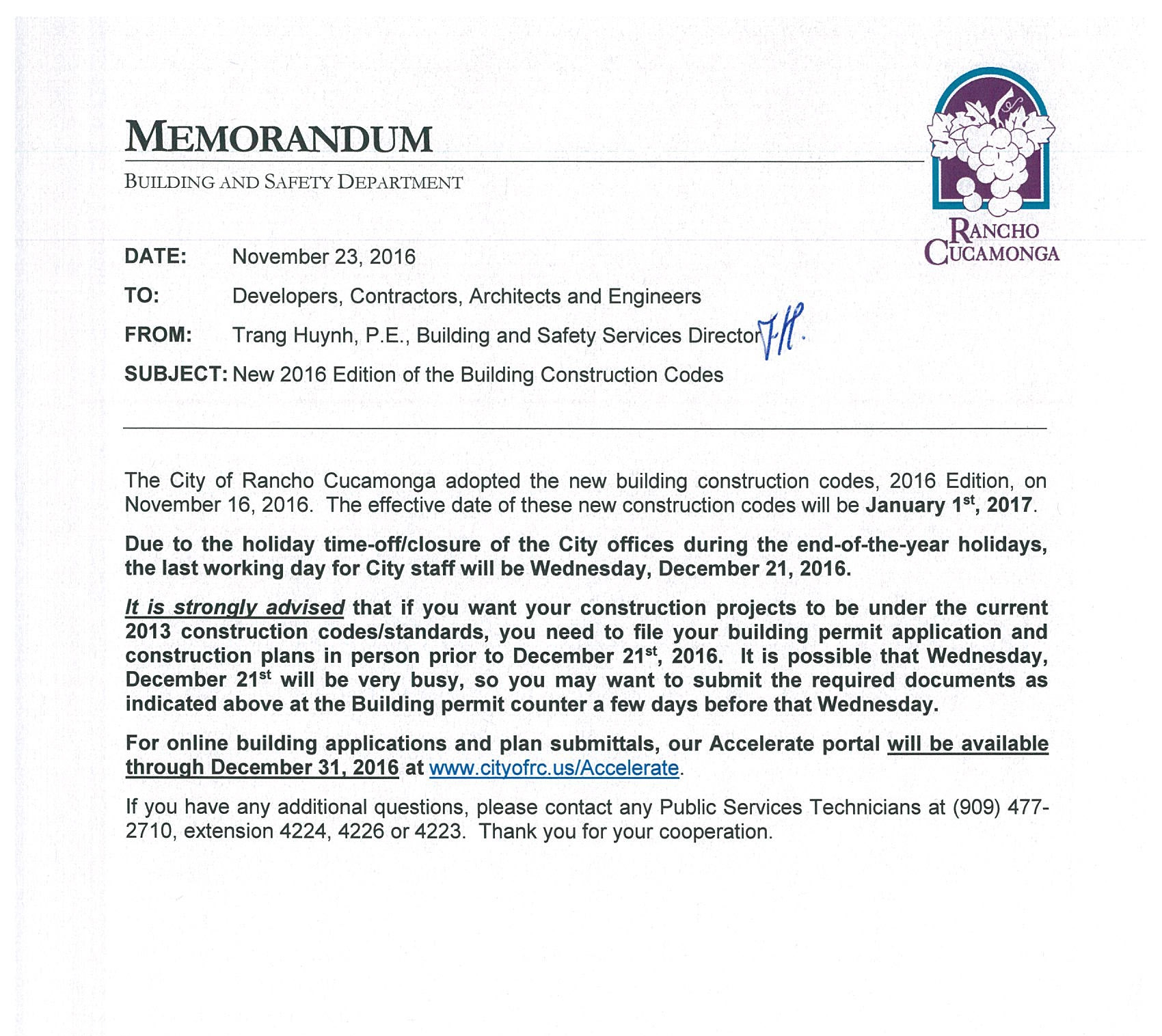 City of Rancho Cucamonga, Building and Safety